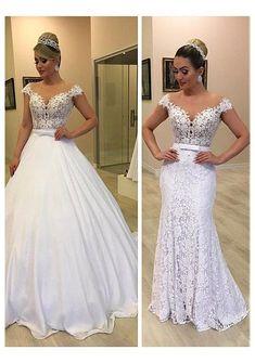 Peacock Wedding Dresses, 2 In 1 Wedding Dress, Detachable Wedding Dress, Chiffon Wedding Gowns, Top Wedding Dresses, Princess Wedding Dresses, Bridal Dresses, Lace Wedding, Wedding Dress Removable Skirt