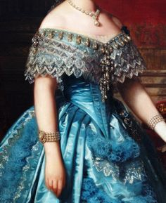 Isabella II, Queen of Spain, Detail. by Federico de Madrazo y Kuntz, 1849 Renaissance Paintings, Renaissance Art, Aesthetic Painting, Aesthetic Art, Historical Costume, Historical Clothing, Princess Aesthetic, Classic Paintings, Victorian Art