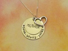 MOM HEART - Hand stamped Necklace - Mothers Necklace-Personalized Jewelry #love