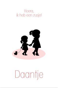 Stijlvol geboortekaartje met de silhouetten van twee zusjes. Pas zelf de kleuren en teksten aan bij www.jillejille.nl