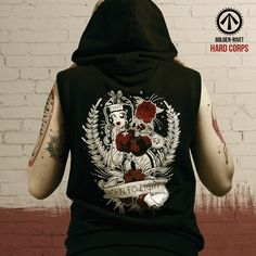 Hard Corps 'Born to Fight' sleeveless hoodie -hand printed. JOIN THE FIGHT!
