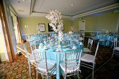 Blue beach wedding reception at the Waterfront Beach Resort Hilton in Huntington Beach | Jenny B Floral Design | Jim Kennedy Photographers