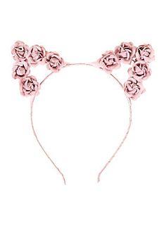 "<p><span id=""webDesc"">Headband with blush pink rose accented cat ears.</span></p><ul><li>Imported</li></ul>"