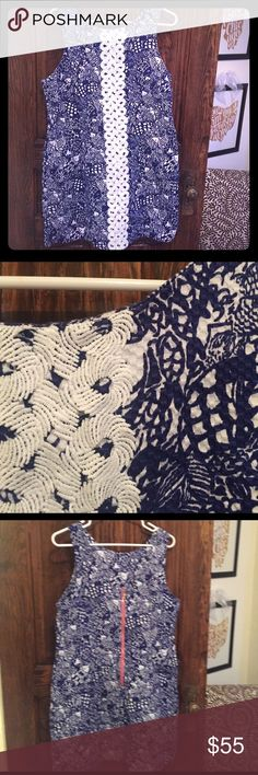 Lilly Pulitzer for Target Blue Shift Dress Blue and white shift dress from the very popular Lilly Pulitzer for Target collection. Worn once, so essentially NWOT. Excellent condition, dry cleaned after wearing it and been hanging for a closet. Needs to go to a good home to be worn!! Pink zipper down the back with a classic pineapple pull charm. Lilly Pulitzer for Target Dresses