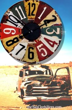 This large 29 inch vintage license plate clock is so big, it's bound to make a splash! #Americana #Openroad http://thebigclockstore.com/category/blog/