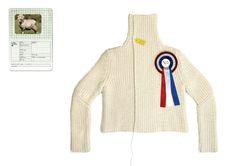 "Weet wie je draagt :D   ""One sheep cardigan"", Christien Meindertsma."