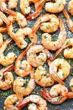 Garlic Parmesan Roasted Shrimp  http://damndelicious.net/2014/12/05/garlic-parmesan-roasted-shrimp/