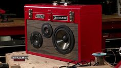 DIY boombox out of a toolbox.  I don't tend to have salvaged drivers sitting around, but this is still awesome.