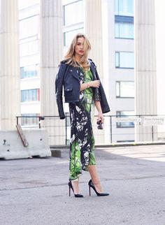 Ingrid Holm Blog- printed dress, leather jacket & Louboutins. Dress from Epilogue by Eva Emanuelsen
