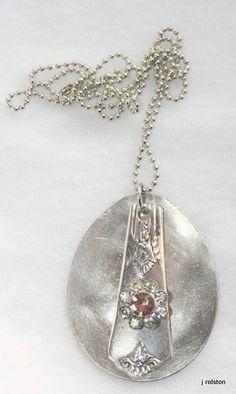 Vintage Silverware Spoon Flower Pendant Necklace by jorodesigns, $16.00