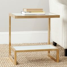 Safavieh Treasures Kennedy Gold/ White Top Accent Table | Overstock.com