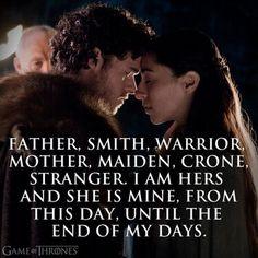 """Robb Stark & Jeyne. Precioso juramento de compromiso. """"Padre, Smith, guerreros, madre, Maiden, Crone, extraños... Soy suyo y ella es mía, desde este día hasta el fin de mis días..."""""""