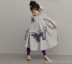 Wholesale Kids Dress - Buy 2014 New Fashion Korean Ink Wash Butterfly Washing Printing Long Sleeve Wide Hemline Vintage Girls Bow Dress Kids Dresses Dressy D1050, $14.43 | DHgate