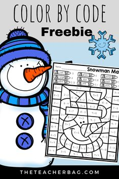 12 Days of Giving - Day 9 Color By Code Snowman Math Do you need an independent math practice activity. Grab this snowman color by code sheet that reinforces addition and subtraction facts. Math Classroom, Kindergarten Math, Teaching Math, Math Teacher, Classroom Ideas, Fun Math, Math Activities, Math Resources, Math Stations