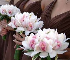Pink cymbidium orchids bridesmaids' posies