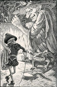 Frank Cheyne Papé ~ The Goblin & The Witch ~The Story of the Queen of the Gnomes and the True Prince from The Story of the Little Mermanby Ethel Reader ~ 1909 ~ viaSomething in the Witch's face had already told him that she was not a nice person to ask favours of.