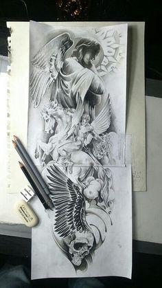 """Результат пошуку зображень за запитом """"ангел хранитель тату эскизы"""""""