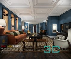 render of house living room - Buy this stock illustration and explore similar illustrations at Adobe Stock 3d Living Room, Luxury Homes, Luxurious Homes, 3d Models, Home Interior Design, Modern, Table, Design Bedroom, House