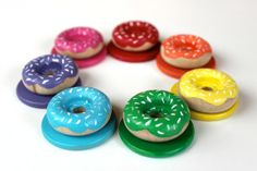 Wooden Rainbow Donuts and Plates / A Montessori and Waldorf Inspired Wooden Materials Matching Toy