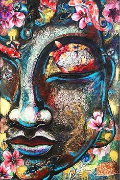"""Koi Fish Peacock Feather Buddha"" Art Prints by Naomi Duben Cute Canvas Paintings, Small Canvas Art, Indian Art Paintings, Buddha Painting, Buddha Art, Meditation Art, Yoga Art, Hindu Art, Psychedelic Art"