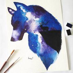 Wolf Art Deer Watercolor Painting original wolf double Etsy Deer silhouette art Galaxy painting Silhouette art