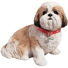 Sandicast Life Size Sitting Shih Tzu Sculpture in Gold / White - $82.70