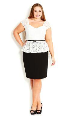 Lace Peplum Dress | Plus Size Work Dresses | OneStopPlus
