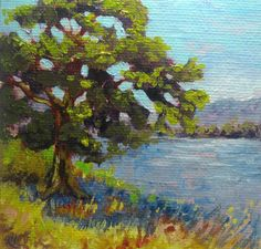 Tree Painting,Original Oil Painting, Landscape Impressionist Oil on Canvas, Tree, Water, Farm Painting, Small Oil Painting 4 x 4 inches by LyonsStudio on Etsy