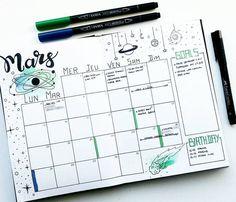 Bullet Journal Monthly Log space themed #bulletjournal #bujo #planner #journaling