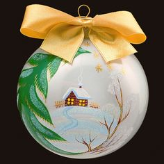 WINTER LANDSCAPE - Personalized Glass Christmas Tree Bauble / Ball Ornament Decoration