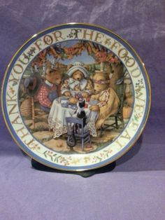 "Vintage Franklin Mint Heirloom Royal Doulton ""Thankful Teddies"" Linda Hill Griffith Fine Bone China Collectors Plate Bear Ceramic Porcelain"