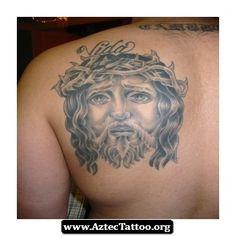 Jesus Face Aztec Tattoos 01 - http://aztectattoo.org/jesus-face-aztec-tattoos-01/