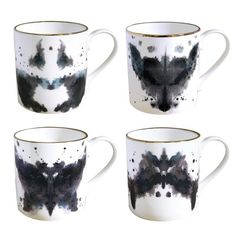 """ink blot coffee mugs... """"tell me what do you see?"""""""
