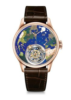 Zenith - Academy Christophe Colomb Planète Bleue - Rose gold luxury watch with Gravity Control module. Limited edition of 10 luxury watches.
