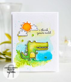 Card by Kay Miller. Reverse Confetti stamp sets: Later Alligator, Weather It Together and Love Blooms. Confetti Cuts: Later Alligator and Weather It Together. Valentine's card. Anniversary Card.