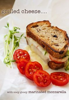 Grilled Cheese with Marinated Mozzarella | recipe on FamilyFreshCooking.com