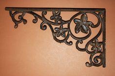 "Large 12 1/2"" Decorative Heavy Duty Shelf Brackets, Solid Cast Iron, Rustic Vintage-look Elegant Design, Corbels, Cottage, B-9 by WePeddleMetal on Etsy"