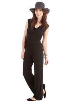 Energetic Attitude Jumpsuit. Youre ready for whatever the day brings in this black jumpsuit! #black #modcloth