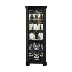 Lowest Price Online On All Pulaski Oxford Black Corner Curio Cabinet   21220