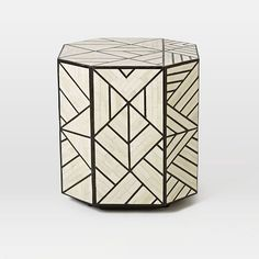 Bone Inlay Side Table - If we go with side tables in the living room, I like a plinth Black and White inlay design. The other option would be to go with a pair of floor lamps on either side of the sofa.