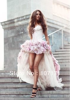 Fashion Spaghetti Strap Corset Back Ruffle Tulle Short Front Long Back High Low Prom Dress $190.53