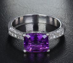 Natural 7x8.4mm Dark Amethyst .24ct Diamonds 14K White Gold Pave Engagement Ring