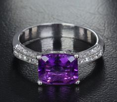 Natural 7x8.4mm Dark Amethyst .24ct Diamonds 14K White Gold Pave Engagement Ring
