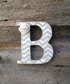 16 Wood Chevron Letter ANY COLOR w/ burlap by DaisyMarieCrafts, $16.50