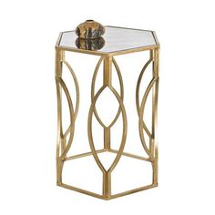 Worlds Away Morroco Hexagonal Side Table In Gold Leaf With Antique Mirror Top - possible between barrel chairs