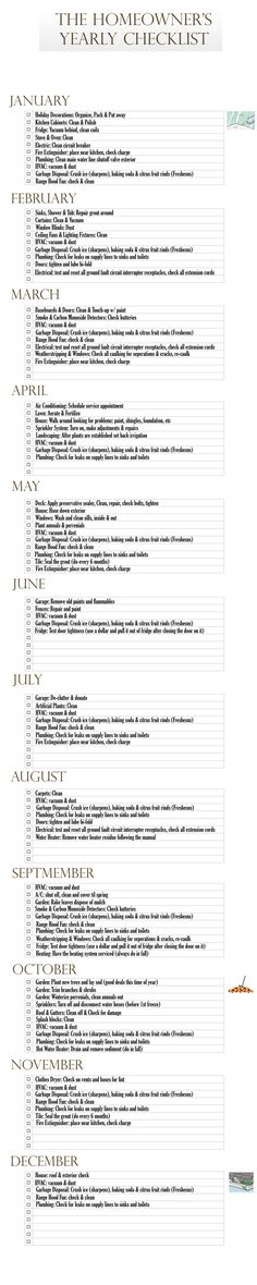 Monthly checklist with suggestions about what to check/clean/replace each month. Helpful reminders!