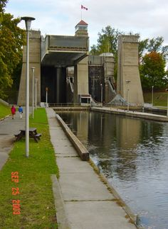Peterborough, Ontario, Canada - Trent-Severn Waterway National Historic Site of Canada - Hydraulic Lock System -Photo of World's Highest Hydraulic Liftlock Canada Eh, Visit Canada, Peterborough Ontario, Nostalgia, Canadian Travel, Panama Canal, True North, Quebec City, Quebec