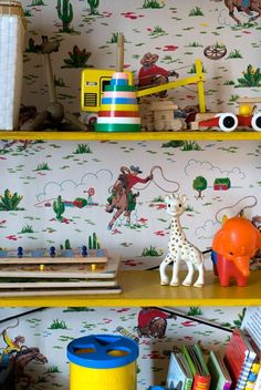 Toys & Cath Kidston cowboy wallpaper with Sophie the Giraffe