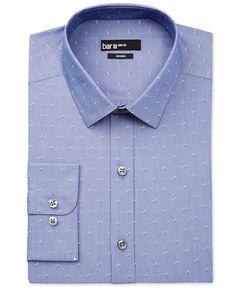 Bar Iii Men's Slim-Fit Chambray Geo-Pattern Dobby Dress Shirt, Only at Macy's