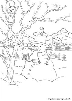 Snowman, snow, fence, pine trees, mountains and a squirrel & bird in a bare tree.